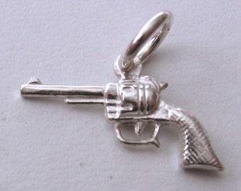 Genuine SOLID 925 STERLING SILVER Revolver Gun charm/pendant