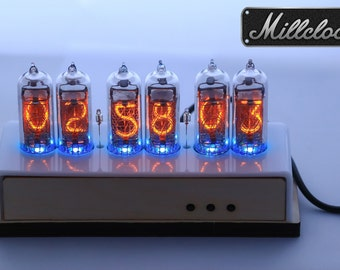 IN-14 Nixie tube Clock assembled with wooden and milk acrylic ENCLOSURE and adapter 6-tubes by MILLCLOCK