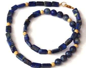 Lapis lazuli necklace - with sparkly gold beads - Genuine gemstones - Egyptian inspired jewelry