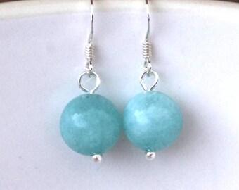 Aquamarine earrings, Gemstone earrings, March birthstone, beaded earrings, sterling silver, aquamarine jewelry, birthday gift, birthstones