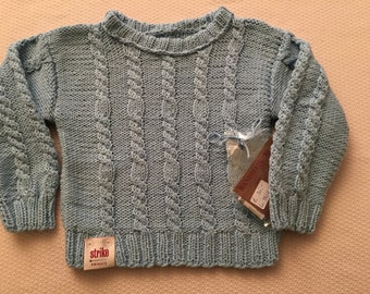 Sweater in Gr. 98/104, light blue, 100% cotton, unisex, very soft and fluffy