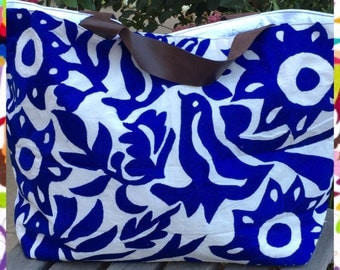 Otomi tenango leather handle handbag tote big enough for a weekend away beach stroll in the park or as a baby bag you choose .