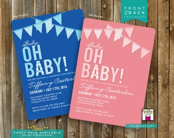 Baby Oh Baby, Baby Shower, Invite, Invitation, 5x7, 4x6, Pink, Blue, Girl, Boy, Banner, Bunting, Printable, Polka Dots