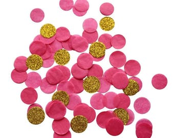 Hot Pink and Gold Round Confetti for Wedding Bridal Shower Princess Party Pack of 4000 pieces