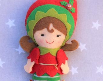 Christmas decoration: Christmas Elf, Christmas ornament, gift Christmas, snowman felt ornament tree, Christmas tree, Christmas gift.