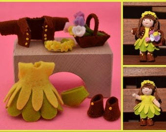 Pdf pattern - Spring outfit for Waldorf inspired, 3 inch tall, dollhouse, dress-up doll-Pattern for DOLL NOT INCLUDED