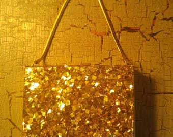 Vintage Womens Wristlet Evening Purse , Double Sided Carry All , Gold Tone Metal Vompact Cigarette Case **