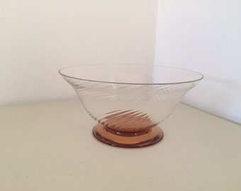 Small Glass Dish with Copper Coloured Base & Decorative Lined Pattern