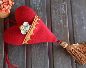 Red fabric heart with pocket and ceramic angel. Gift for Valentine's Day. Valentines day decorations.Decor for home.