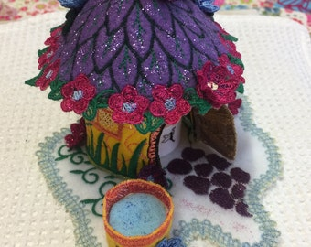 Fairy House Embroidered ( Purple and Yellow)