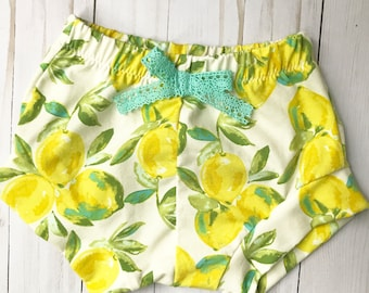 Lemons Shorties Girls sizes NB-4T Handmade Shorts Diaper Cover