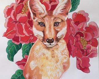 Foxy loxy from woodland animal portrait and flauna series.