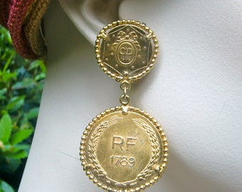 CHRISTIAN DIOR 1989 French Revolution Coins Earrings
