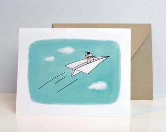 Paper Airplane Bear Graduation Card