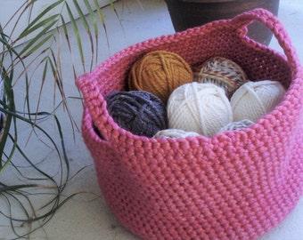 REDUCED: Crocheted Basket with handles-Rose Pink (yarn not included)