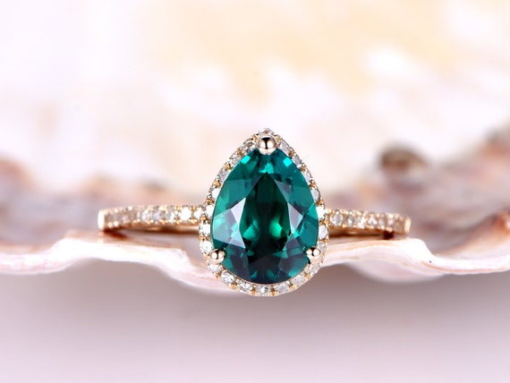 Pear Emerald engagement ring,6x8mm pear cut emerald ring,natural diamond wedding band,solid 14k Yellow gold,Green Lab treat gemstone