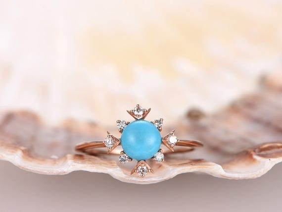 6mm round cut VS natural Turquoise engagement ring,Floral SI-H diamond wedding band,solid 14k rose gold wedding ring,bridal promise ring