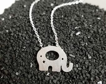 Brass Elephant Pendant Necklace Simple & Cute, Tiny, Dainty
