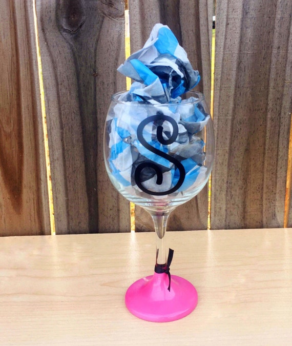 Personalized initial wine glass painted wine glass bridal for Painted wine glasses with initials