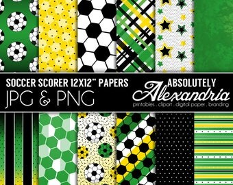 Soccer Scorer Digital Papers - Personal & Commercial Use - Soccer Ball Paper, Sports Graphics, Football Patterns, Party Scrapbook Page Kit