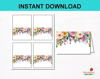 Editable Floral Label Cards, Food Tents, Place Card, Food Labels, Floral Bridal Shower, Floral Baby Shower, C17 B14 A15