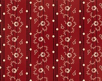 BTHY- Lancaster Collection designed by Sara Morgan for Blue Hill Fabrics, #8278-2, Black &  White Floral Vine Stripes on Deep Red, Civil War