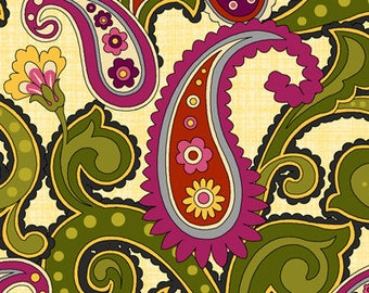 "By The HALF YARD - Anthology 2 by Color Principle for Henry Glass, #8002-44, 2.75"" Red and Purple Paisley, Yellow Flowers & Green Leaves"