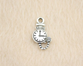 15 Pocket Watch Charms Antique Silver Tone Wrist Watches Charms Clock Charms Charm Bracelet Bangle Bracelet Pendants #228