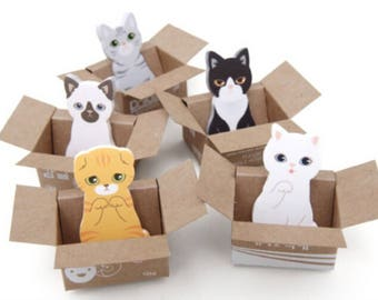 Cat Sticky Notes - Kawaii Kitty House-it Cat in Box - 5 To Choose From