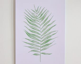 Fern Leaf Botanical A3 Print (Off White)