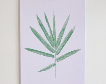 Palm Leaf Botanical A3 Print (Off White Stock)