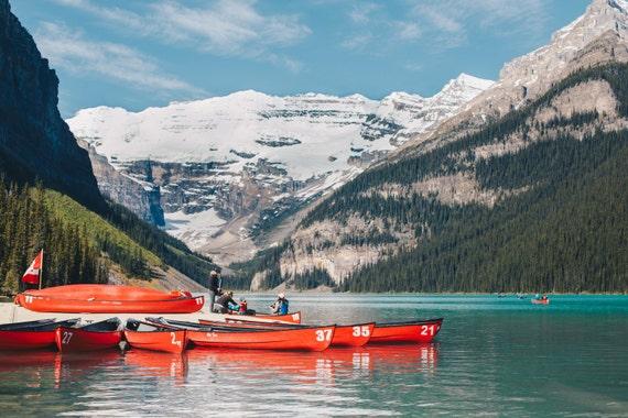 Canada, Lake Louise, Banff National Park, Red, Canoe, Nature, Print, Fine Art, Wall Art, Alberta, Canadian Rockies, Nature Photography