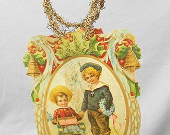 1910s Antique Christmas Ornaments, VICTORIAN Paper SCRAP Tinsel Christmas Ornament with Two Boys, RARE Old Antique Paper Christmas Ornaments