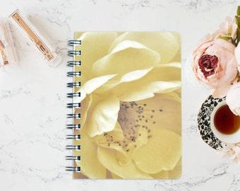 Cream Rose Floral Wirebound Notebook