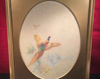 James Stinton Watercolour - Game Birds Flying Over Water - (Royal Worcester Artist) (Signed & Framed) (1870-1961)