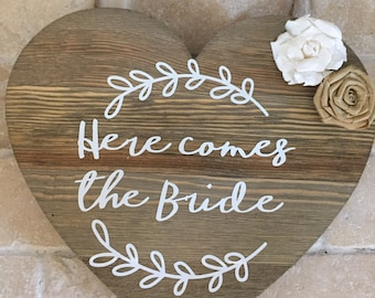 Rustic Wedding Signs| Here Come's the Bride, Wooden Sign, Rustic sign for the flower girl or ring bearer, walking down the aisle, Rustic wed