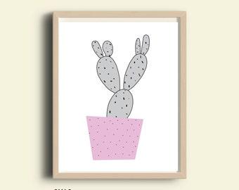 Cactus wall art nursery printable, gender neutral southwestern baby shower gift, office decor illustration, pastel purple, black and white