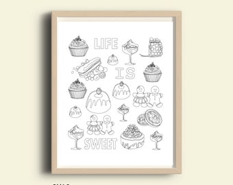 Food art, printable food art, Life Is Sweet, inspirational coloring page, digital coloring pages, instant download, relaxation anti stress