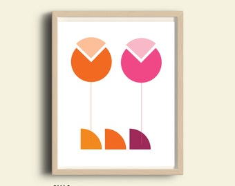 Modern Flower art prints,PRINTABLE, flower wall art print, spring decor, pink and orange colors, modern flower home decor, abstract flower