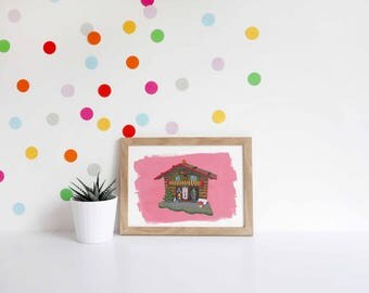 Vintage Weather House Print