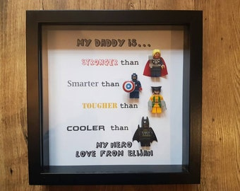 Personalised super-hero daddy son uncle brother lego frame. 4 figures as seen Customise any text. Made in 1 day. gift birthday fathers day
