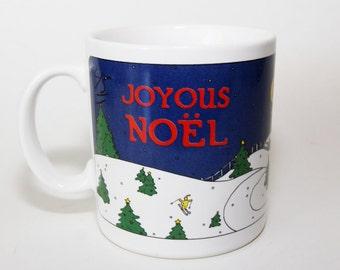 Taylor & Ng Christmas Mug, Cup, Joyous Noel, Snow Scene, Signed 1980