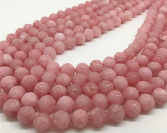 8mm Faceted Pink Agate Beads, Gemstone Beads, Wholesale Beads