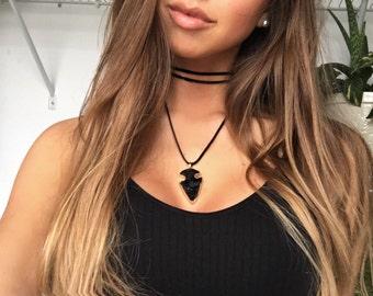 Black Arrowhead Choker Necklace