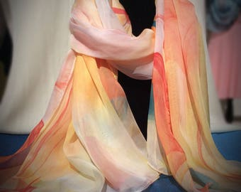 Warm Orange, Red, Yellow Silk Scarf With Abstract Pattern