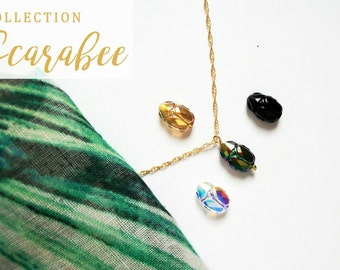Swarovski Crystal and 14 k gold plated scarab necklace