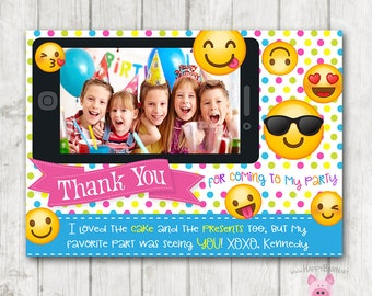 Printable Emoji Thank You Cards with Photo, Horizontal Emoji Thank You Card, Emoji Birthday Thank You, Emoji Birthday, Photo Thank You Card