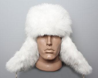 "Genuine White Rabbit Fur hat ""Ushanka""/Traditional trapper unisex warm hat"