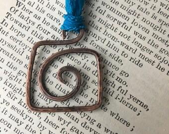 Hammered Copper Square Swirl Pendant; Eco Friendly Jewelry; Zen Jewelry; Sustainable Jewelry; Yoga Jewelry; Long Necklace Pendant; Boho