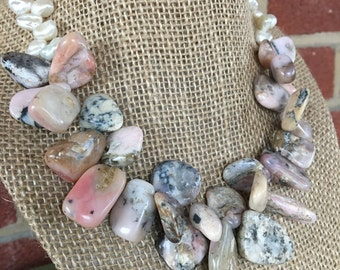 Peruvian Pink Opal and Pearl Choker;  Eco Friendly Jewelry; Statement Necklace; Zen Jewelry; Sustainable Jewelry; Boho Bridal Necklace;